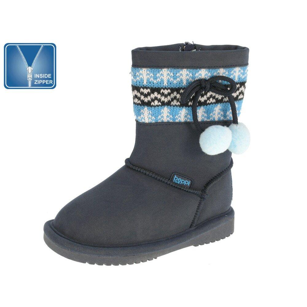 b1eb2b484e08 Detské modré čižmy s nórskym vzorom Beppi