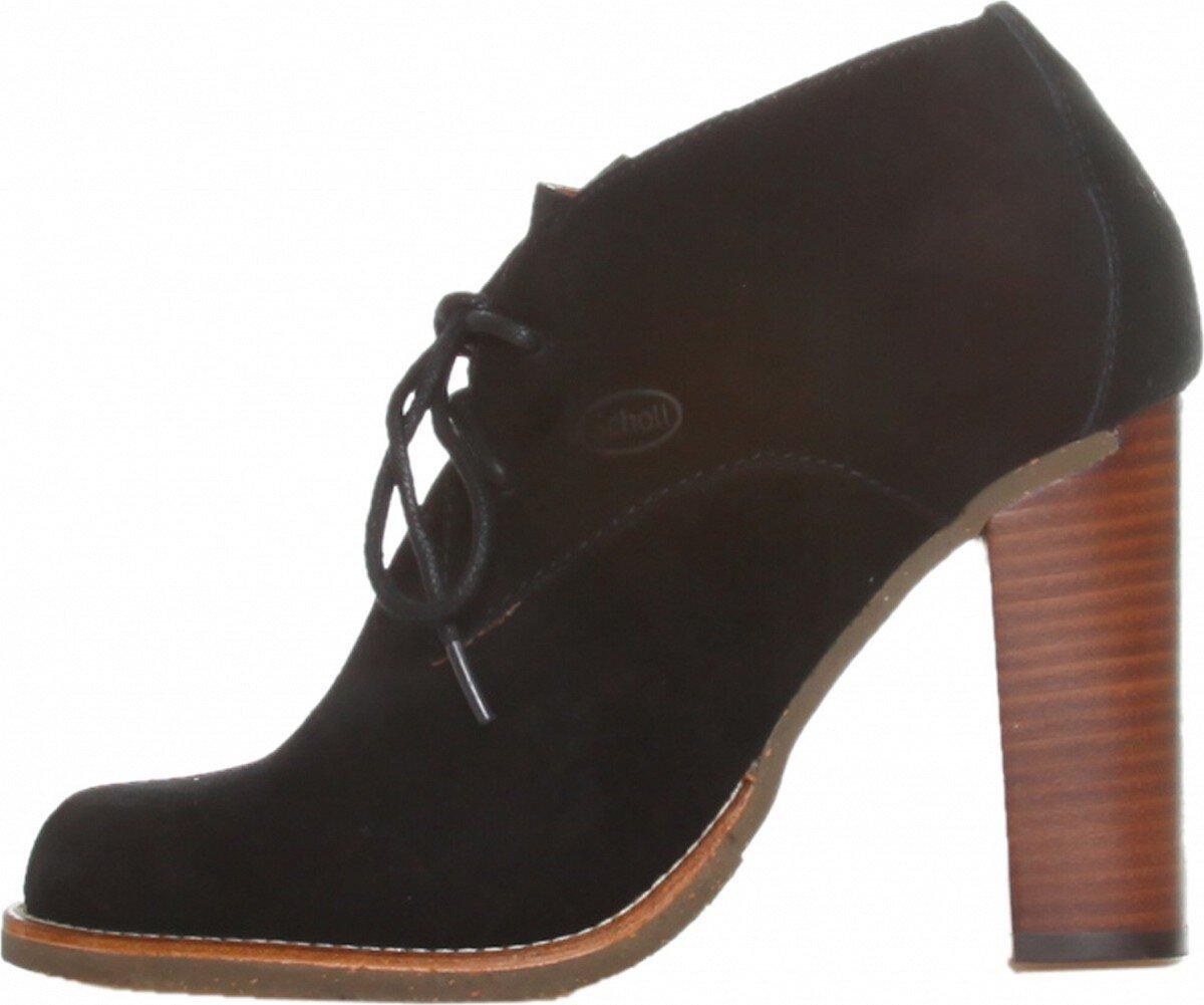 Dámske čierne semišové šnurovacie topánky Dr. Scholl na vysokom podpätku 89d7f49d544