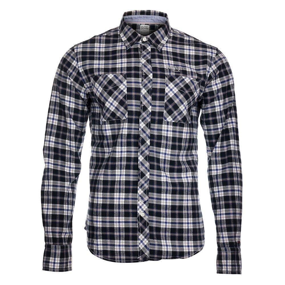 5adcd81f8bf9 Pánska čierno-biela kockovaná košeľa Tommy Hilfiger