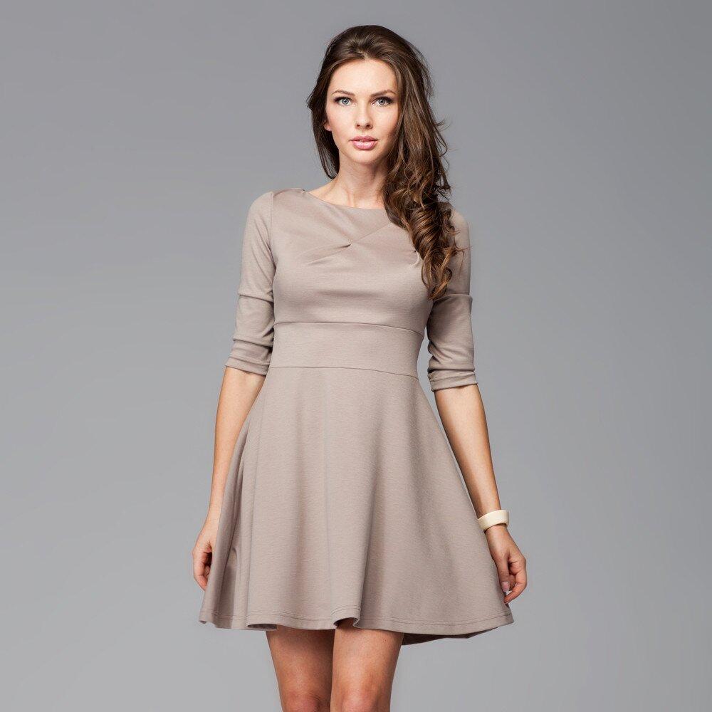 Dámske hnedé šaty s kruhovou sukňou Figl  797d6c575a4