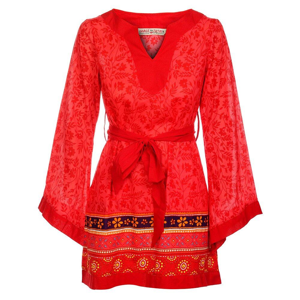 8be3b16e4d1b Dámske žiarivé červené šaty s dekoráciou od Savage Culture