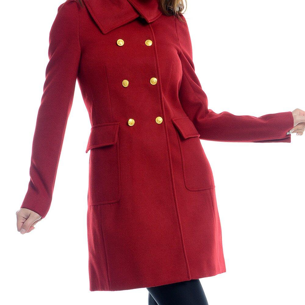 Dámsky červený kabát so žltými gombíkmi Estella  9f42815df62
