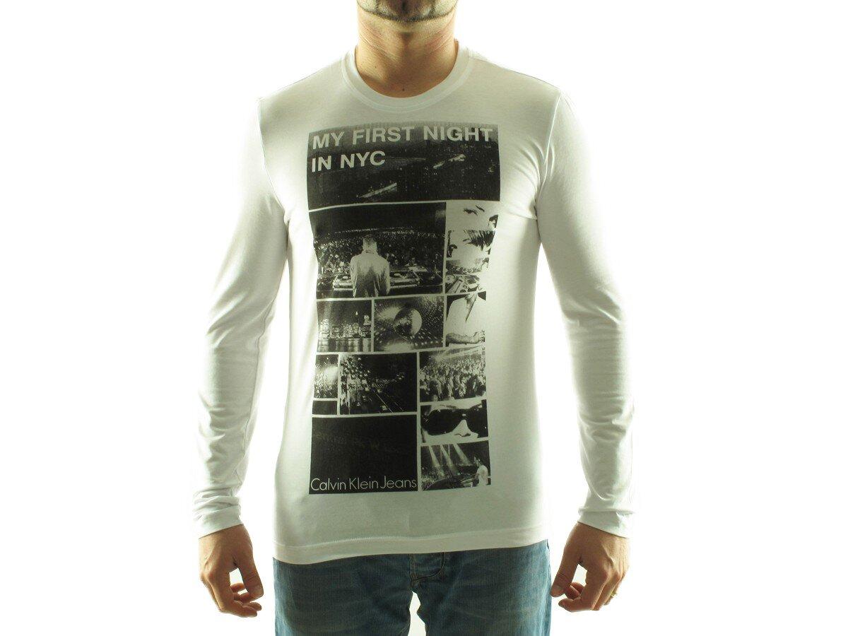 024d83fa0fa4 Pánske biele tričko Calvin Klein s foto potlačou