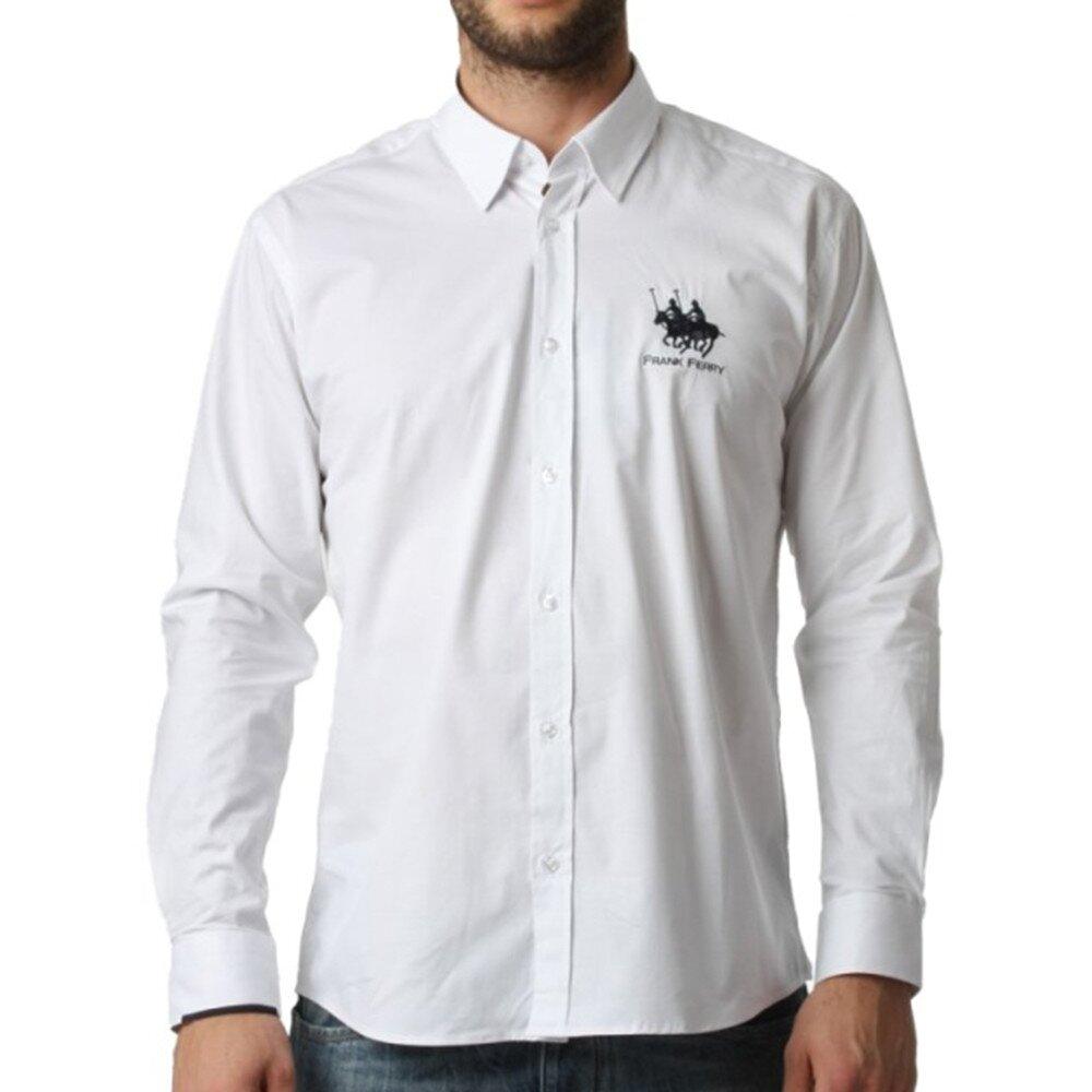 5d7404b013ea Pánska biela košeľa s dlhým rukávom Frank Ferry