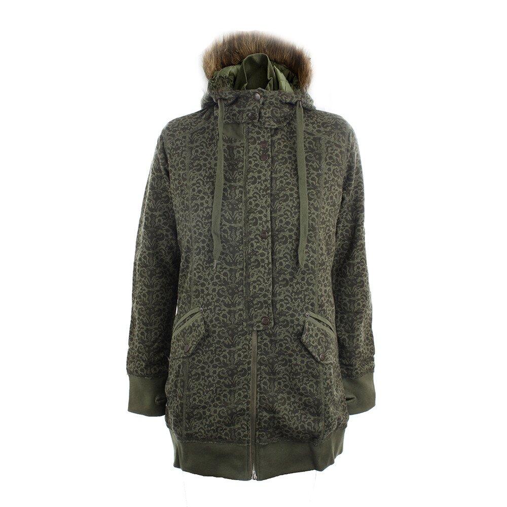 Dámsky olivovo zelený kabát s potlačou Timeout  f00371fc742