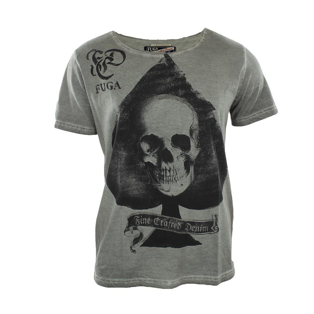 Pánske šedé tričko s lebkou Fuga  a625edea7c6
