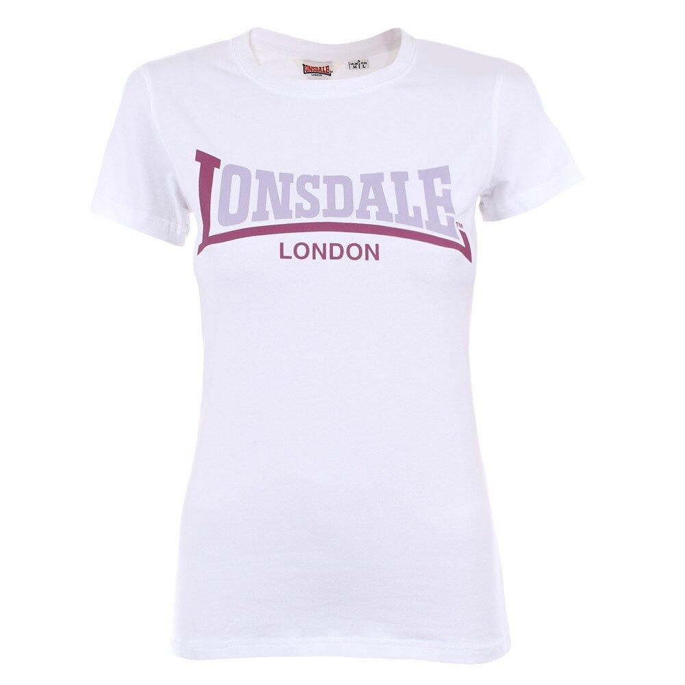 75f065208a1d Dámske biele tričko s fialovým nápisom Lonsdale