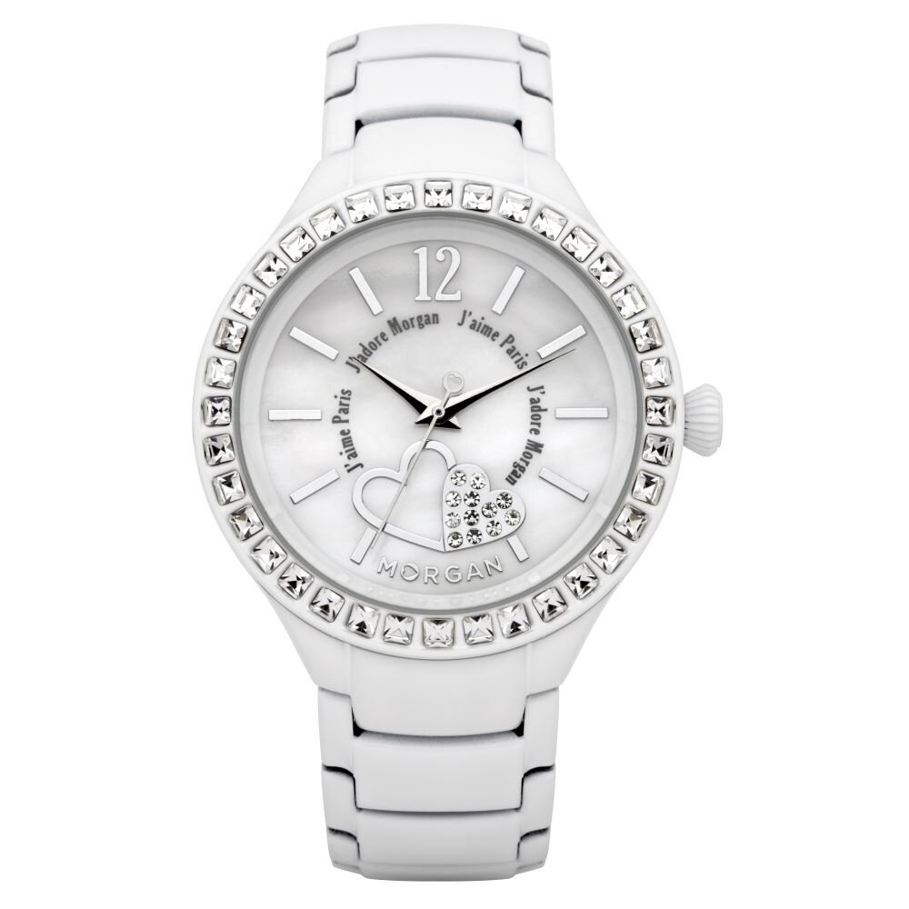 Dámske biele hodinky s kryštálmi Morgan de Toi  f026216a417