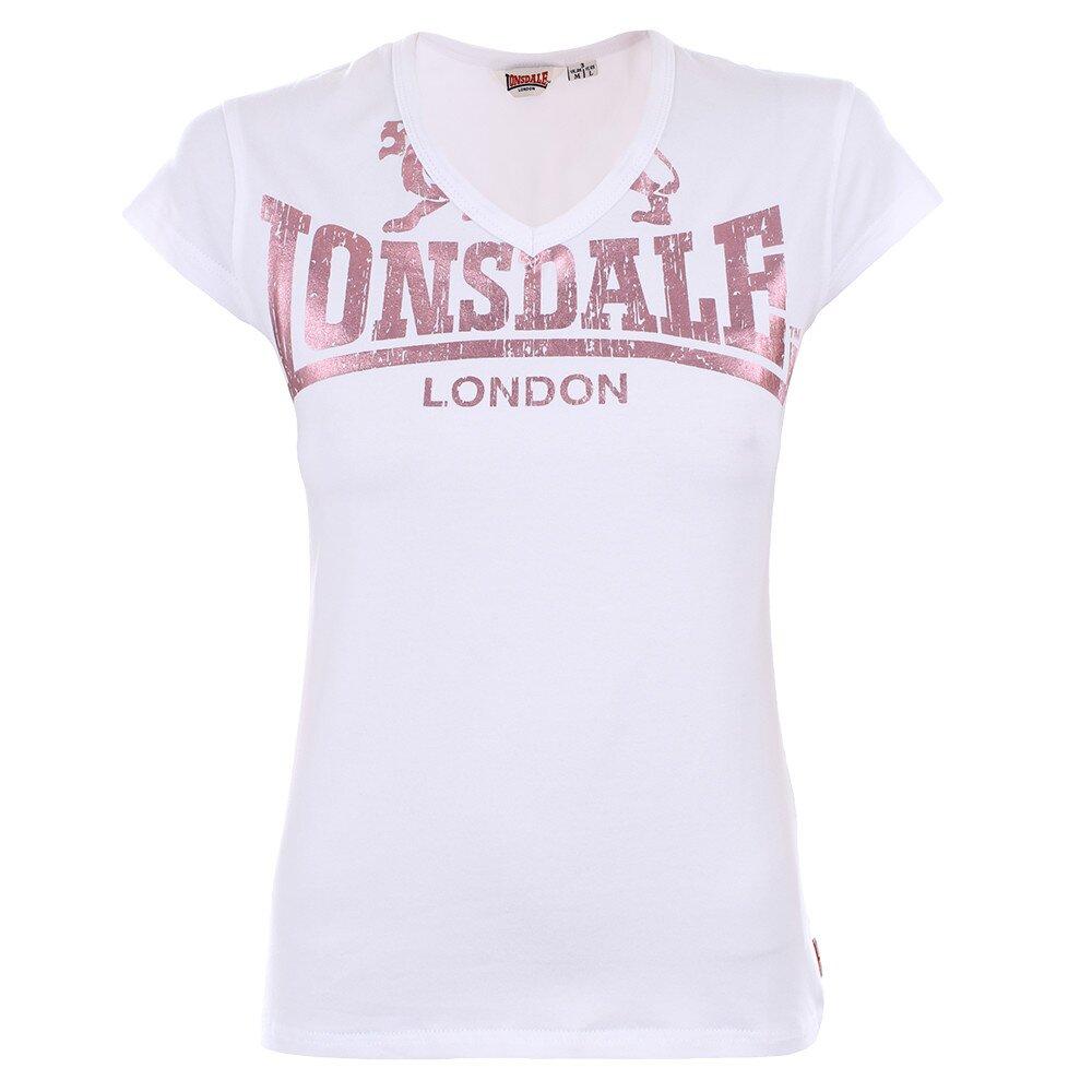 31406f608b3a Dámske biele tričko s ružovou potlačou Lonsdale
