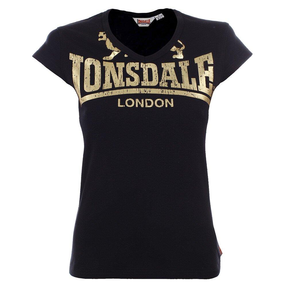 b6995afbaefc Dámske čierne tričko so zlatou potlačou Lonsdale