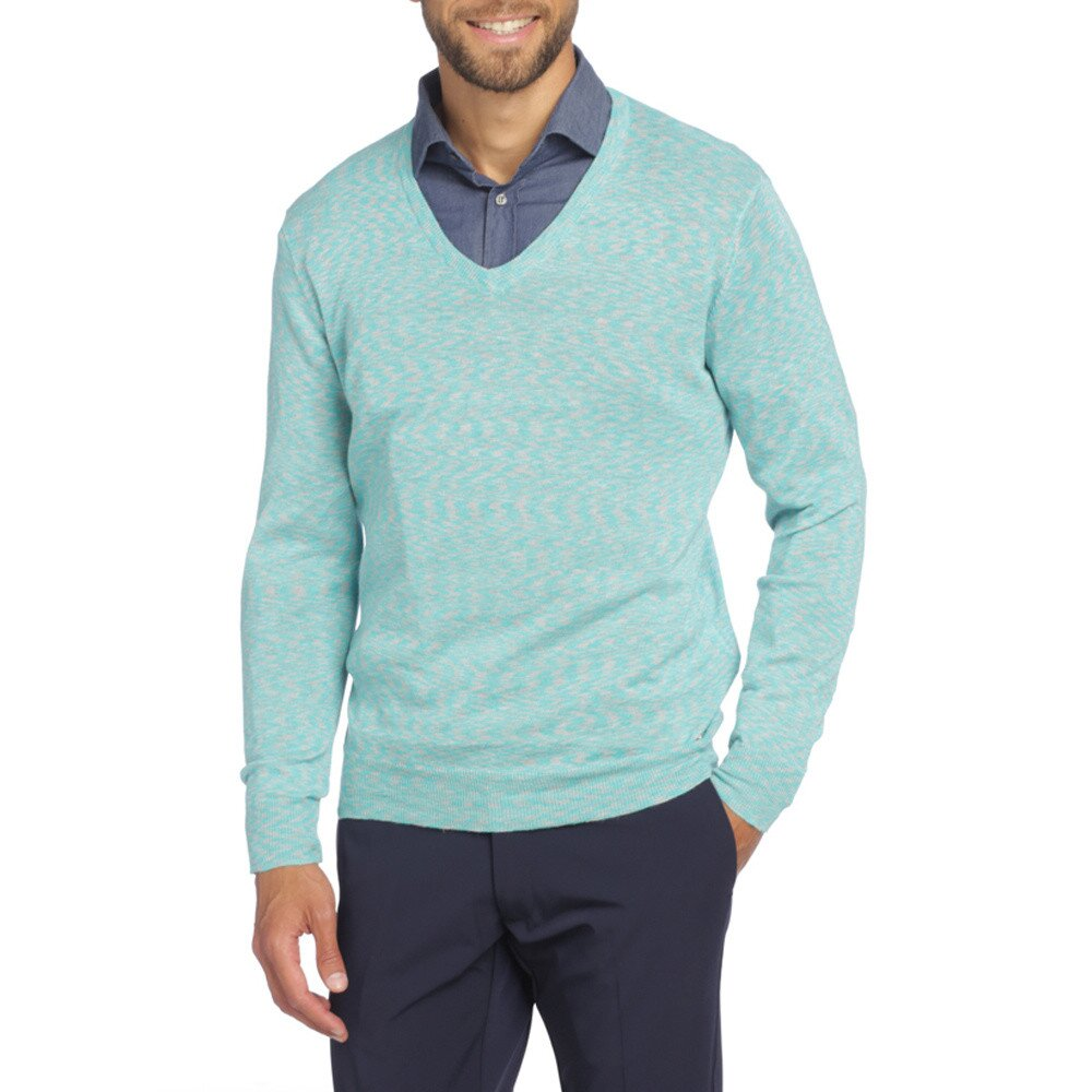 4f808c3dc01c Pánsky svetlo modrý sveter s véčkový výstrihom LIU•JO