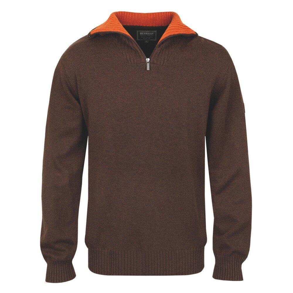 8aad8a393 Pánsky hnedý polozapínací sveter s oranžovým golierom Bushman   Zlavomat.sk