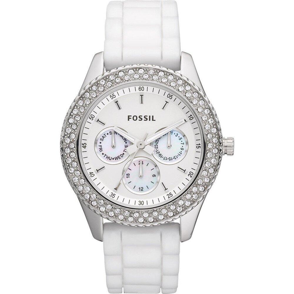 Dámske biele hodinky so zirkónmi a chronografom Fossil 01dcffe466c