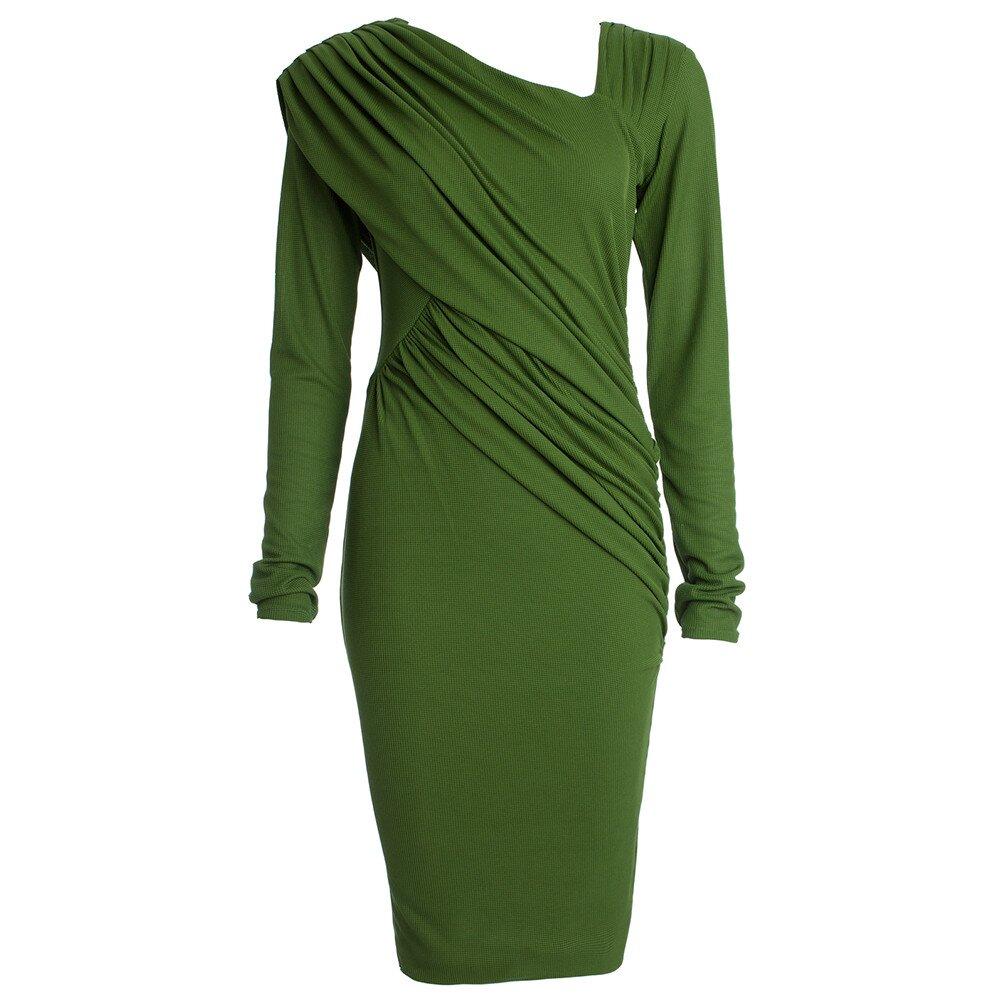 Dámske zelené nariasené šaty s dlhým rukávom CeMe London  1e5488ba659