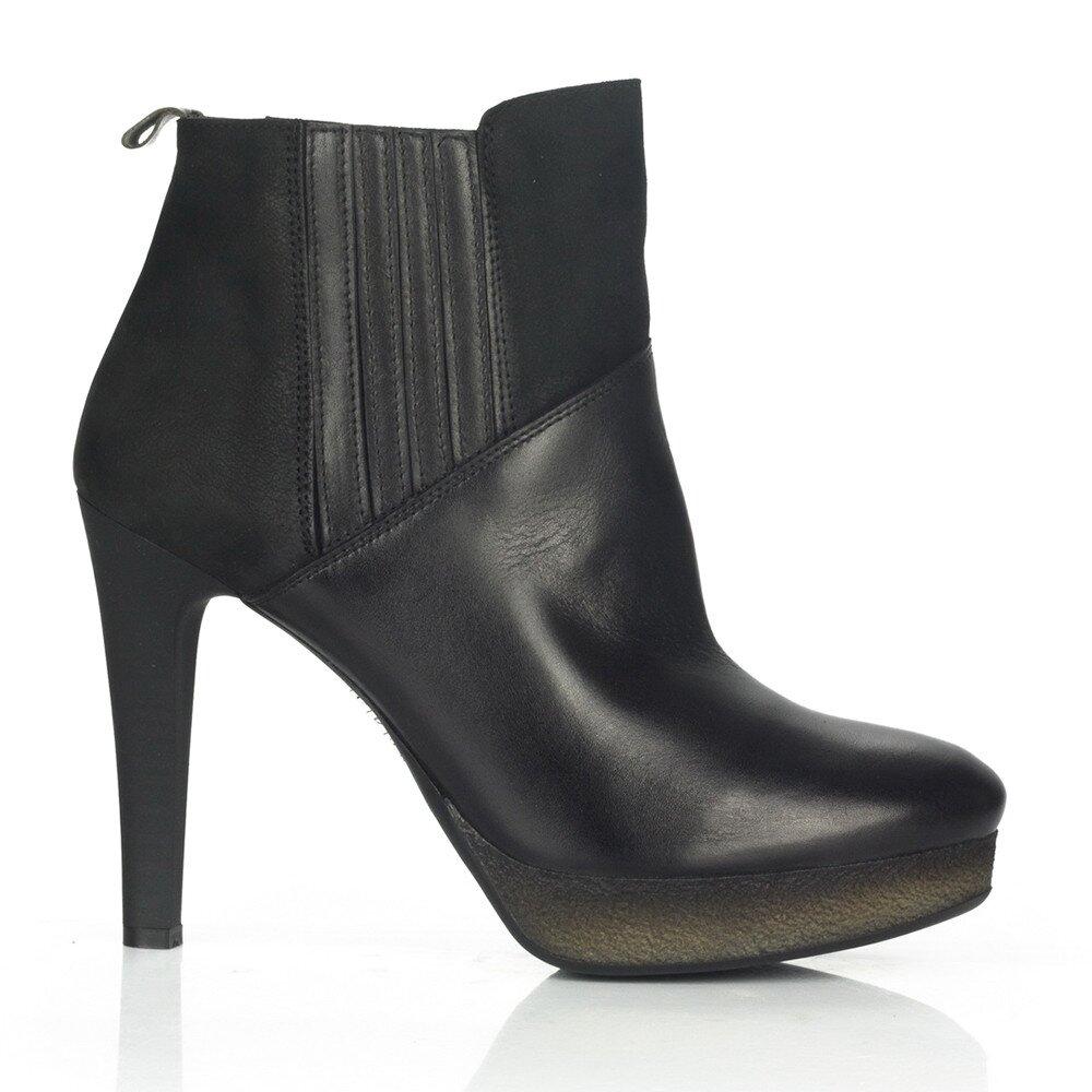 Dámske čierne kožené členkové topánky na opätku Joana and Paola e21164ce6f7
