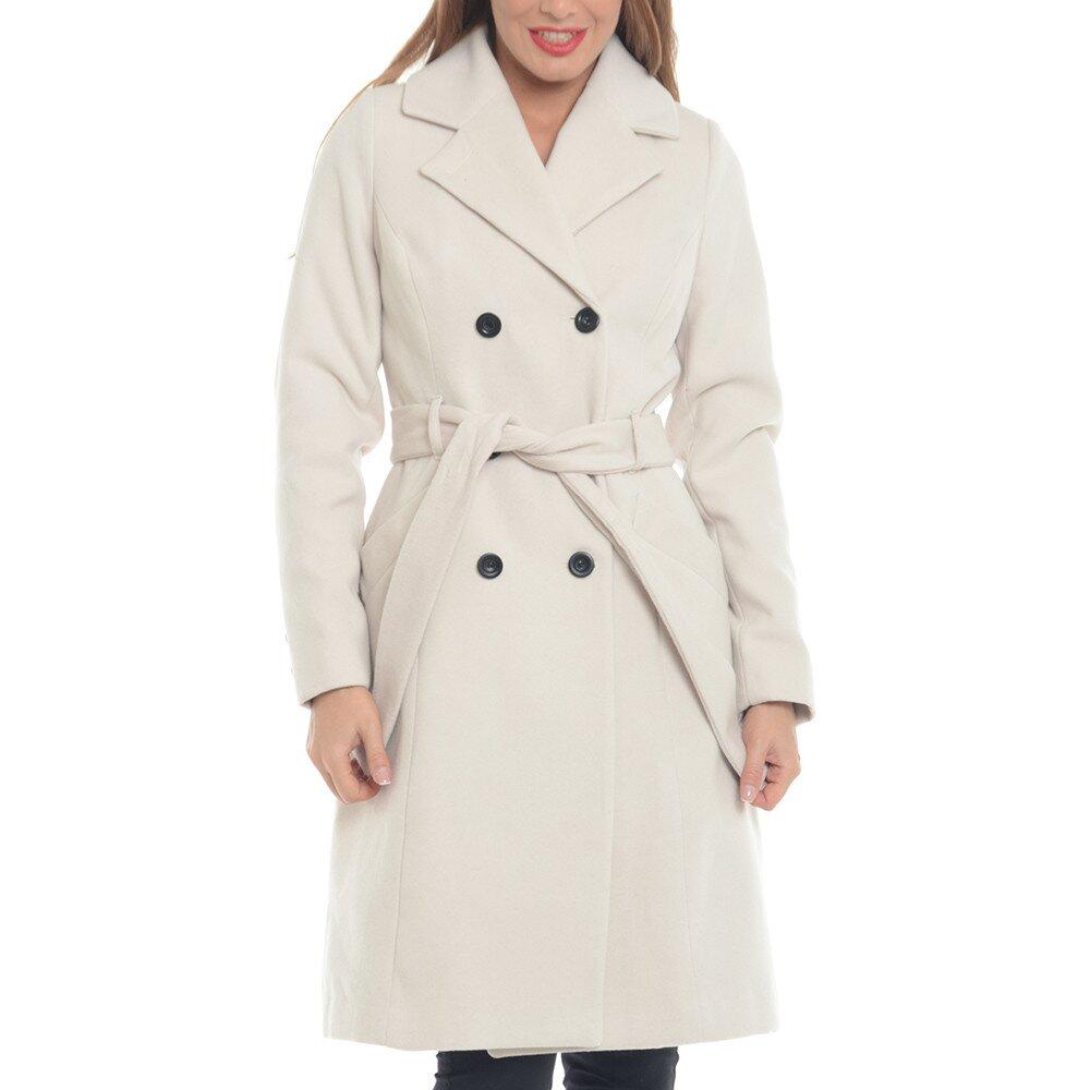 Dámsky krémovo biely vlnený kabát Vera Ravena bd5f2ebd657