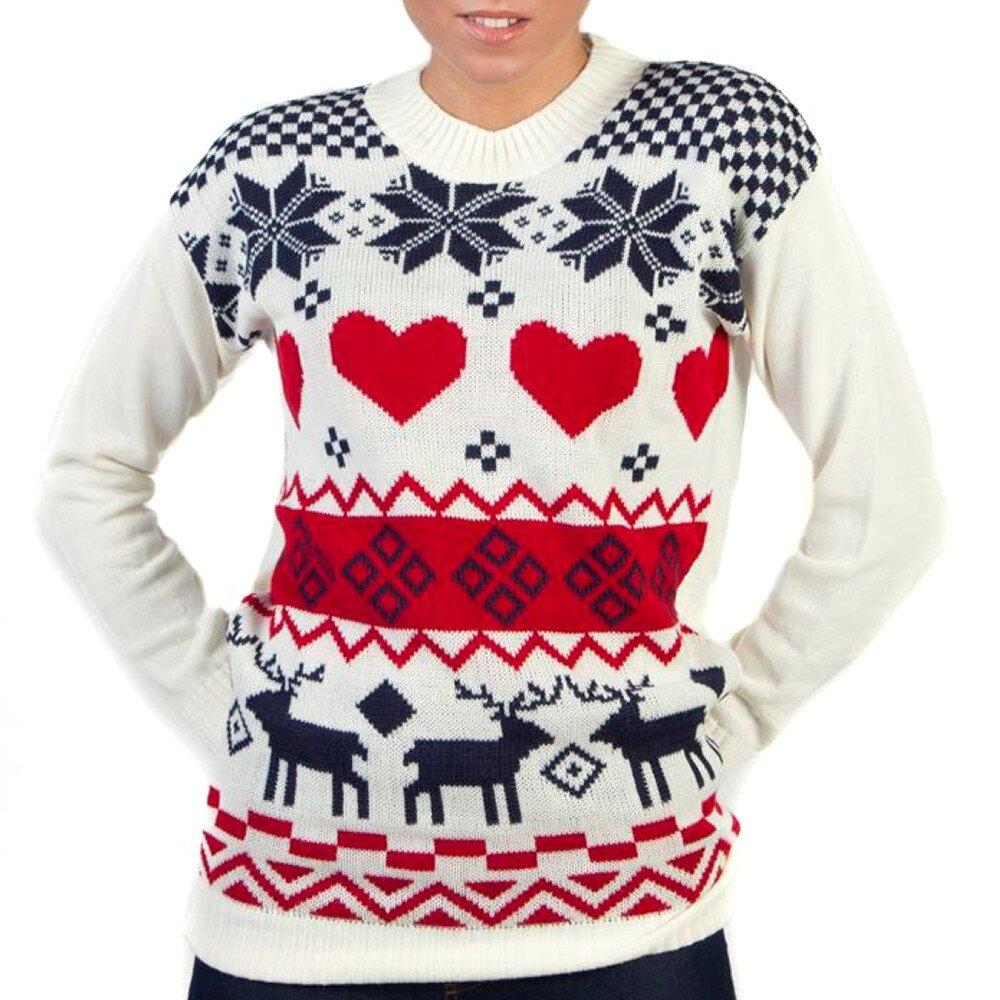 0a4c4b1c8780 Dámsky biely sveter s farebným nórskym vzorom Pepper Tree