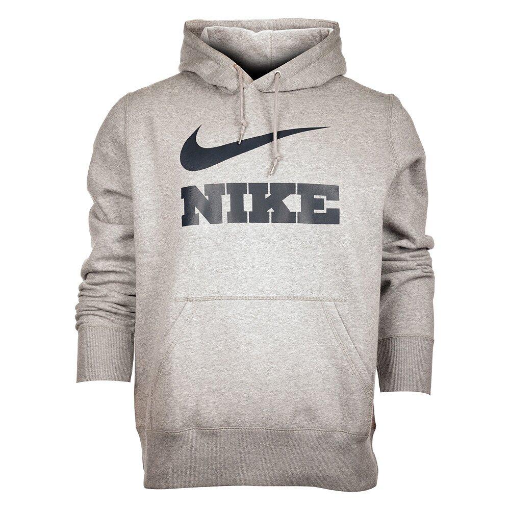 Pánska svetlo šedá melírovaná mikina Nike s kapucňou a čiernym logom abe5df6e98a