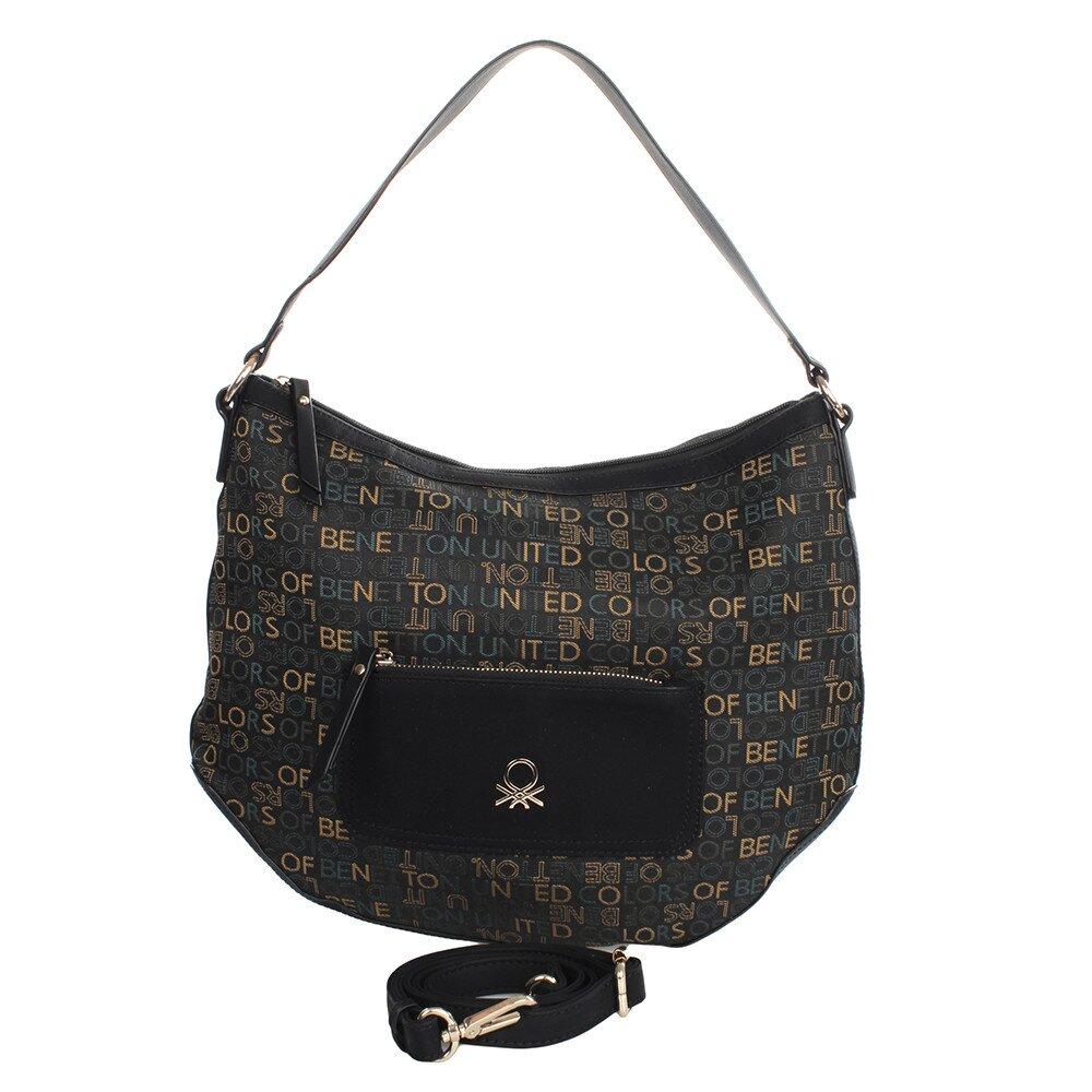 cb5711e578713 Dámska čierna kabelka s farebnými nápismi United Colors of Benetton    Zlavomat.sk