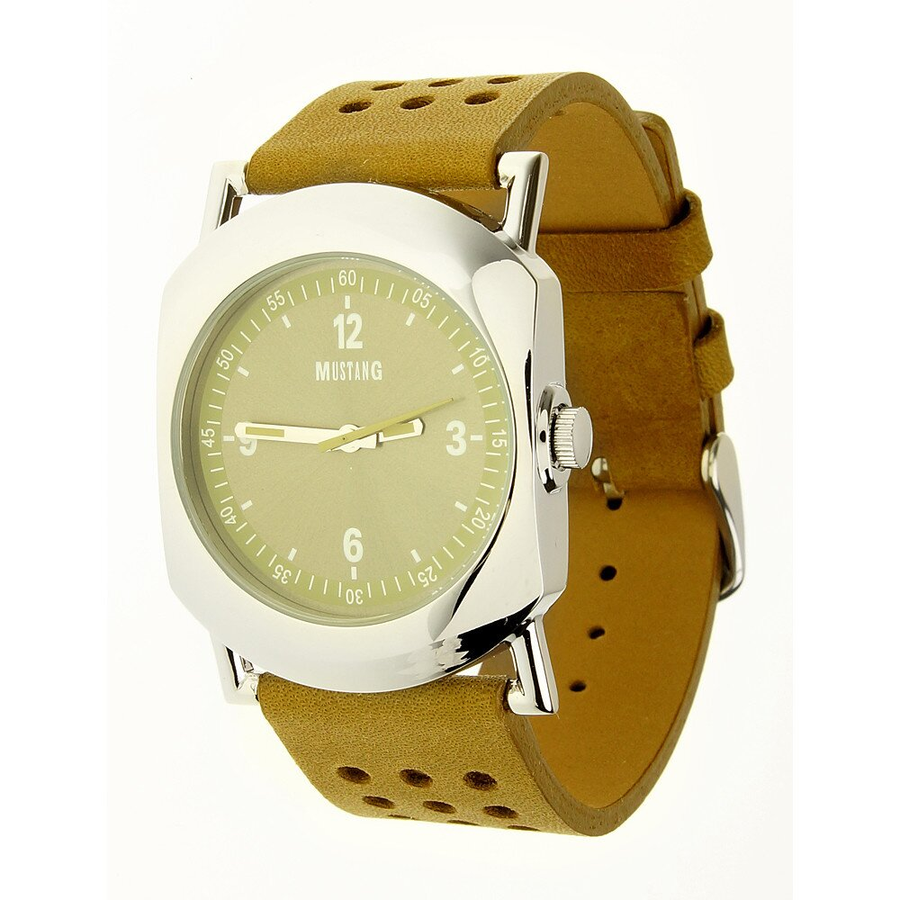 Dámske oceľové hodinky Mustang s khaki remienok  90fa2e08c9