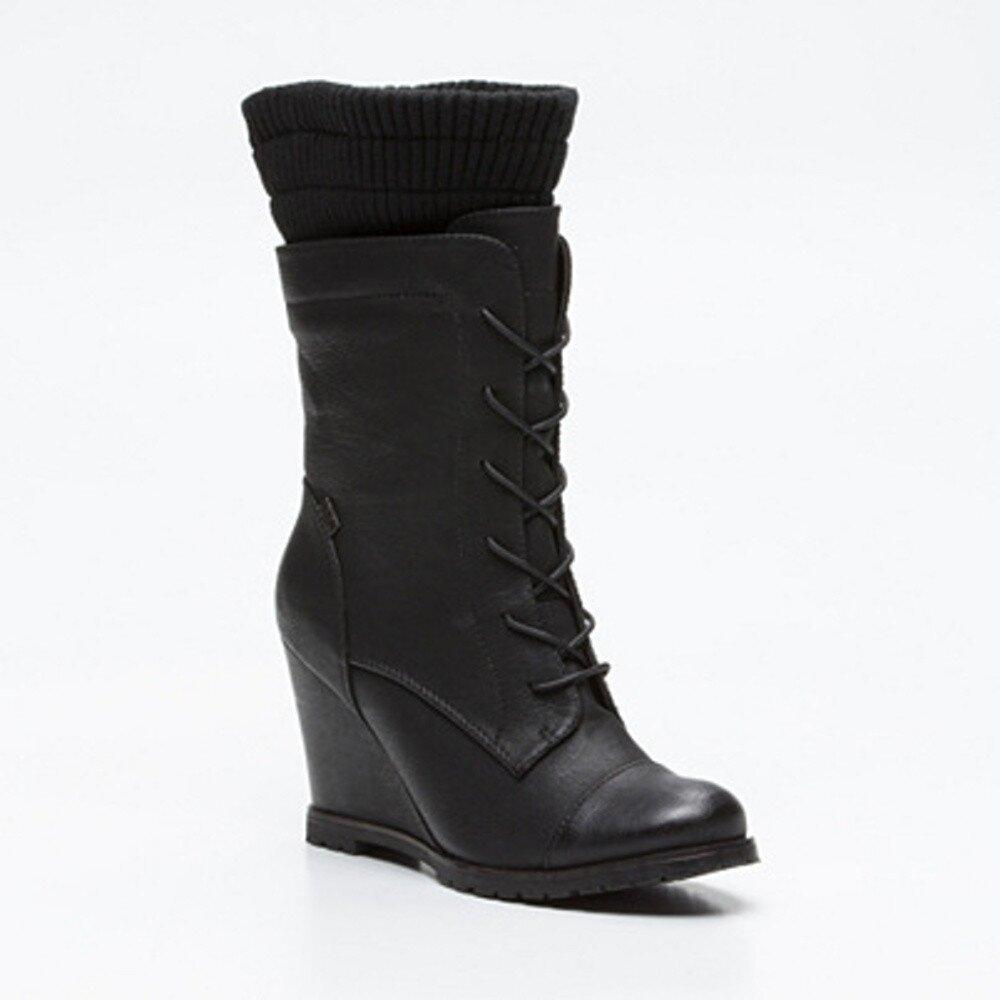 3ee5f434f866 Dámske čierne vysoké šnúrovacie topánky na kline Maria Mare ...
