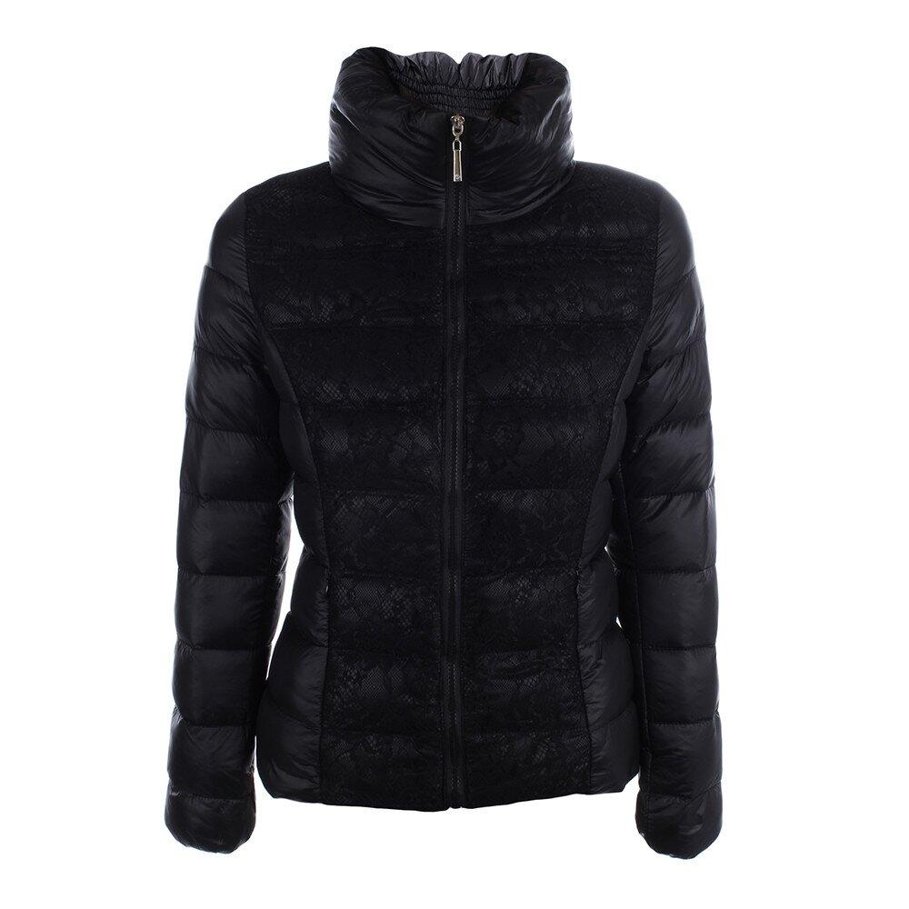 Dámska čierna prešívaná bunda s čipkou B.style  ea3d53e9f14