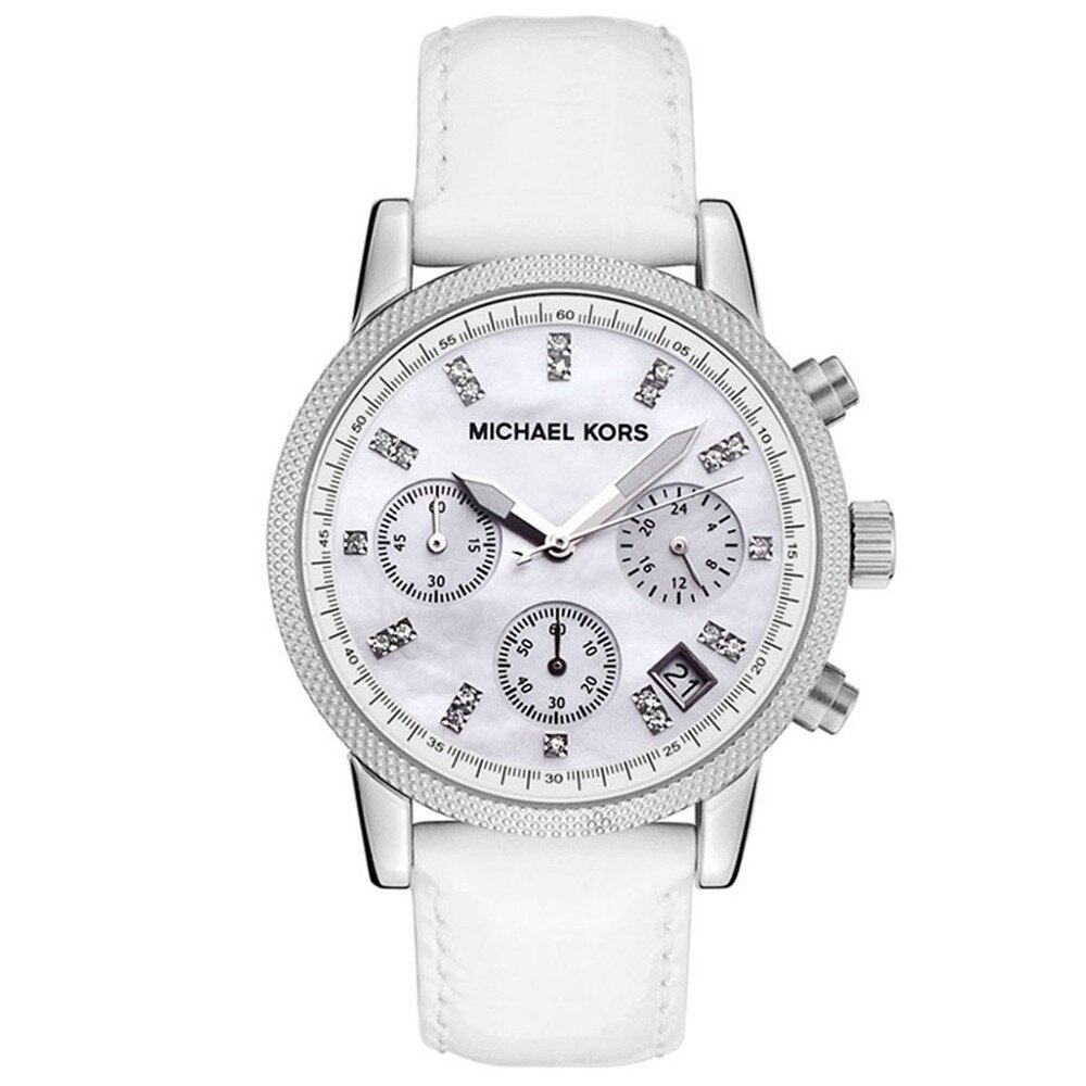 Dámske oceľové hodinky s bielym koženým remienkom Michael Kors ... f0d6225c891