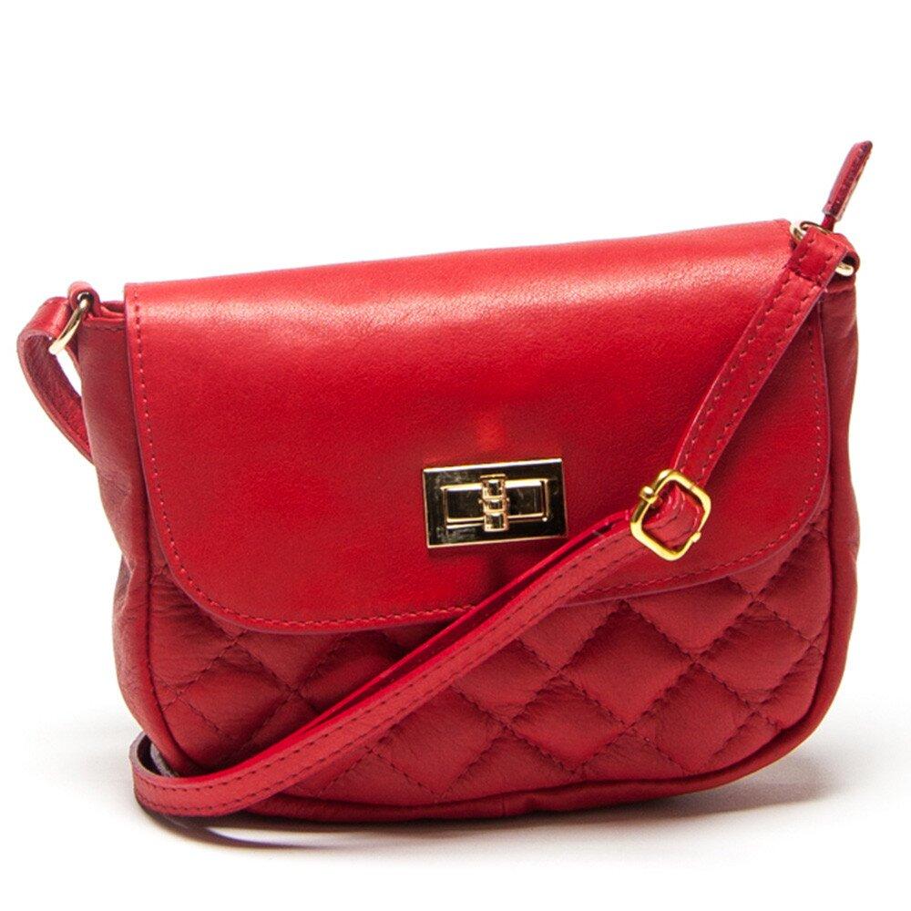 Dámska malá červená prešívaná kabelka Mangotti c9f9b9bbb90