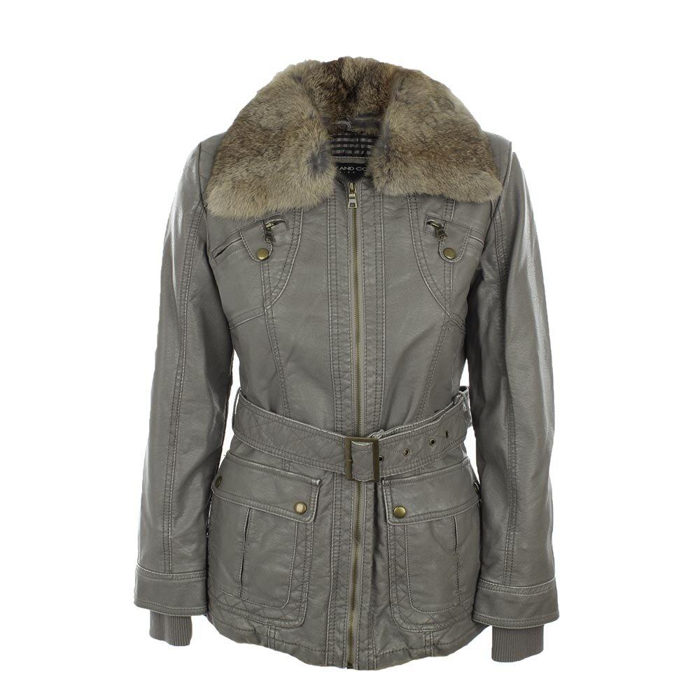 3b1218ff86f4 Dámska šedá bunda s kožúškovým límcom Company Co