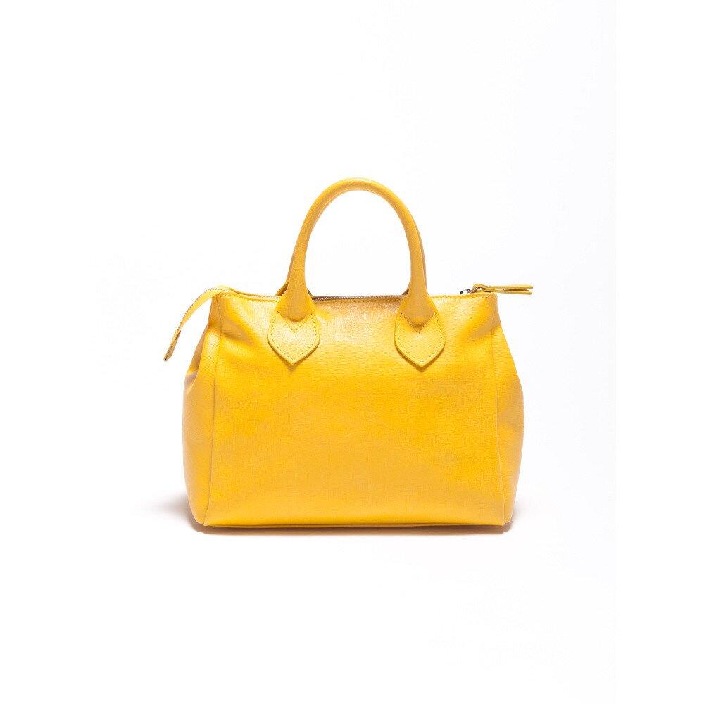 Dámska kanárikovo žltá kožená kabelka Carla Ferrari  bb8d4701860