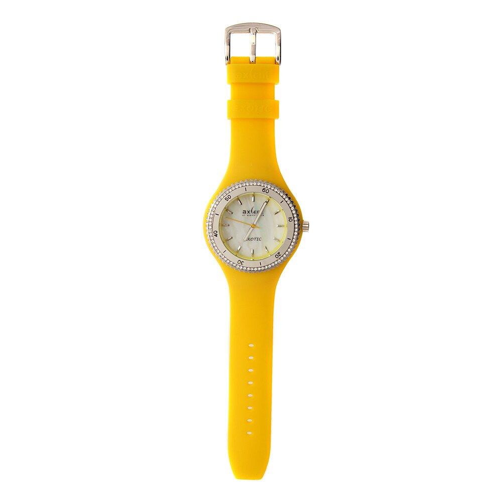 Dámske hodinky Axcent so žltým pryžovým remienkom a kamienkami ... f3c3352ff0