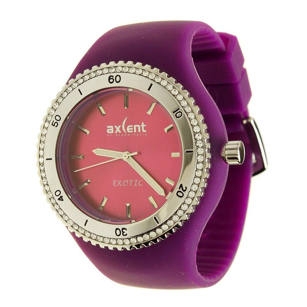 Dámske hodinky Axcent s fialovým pryžovým remienkom a kamienkami ... 8fa6132718