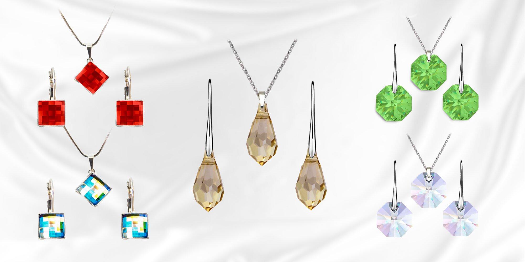 Šachovnicový set šperkov Swarovski a ďalšie krásne šperky Swarovski ... 4256d5dad67
