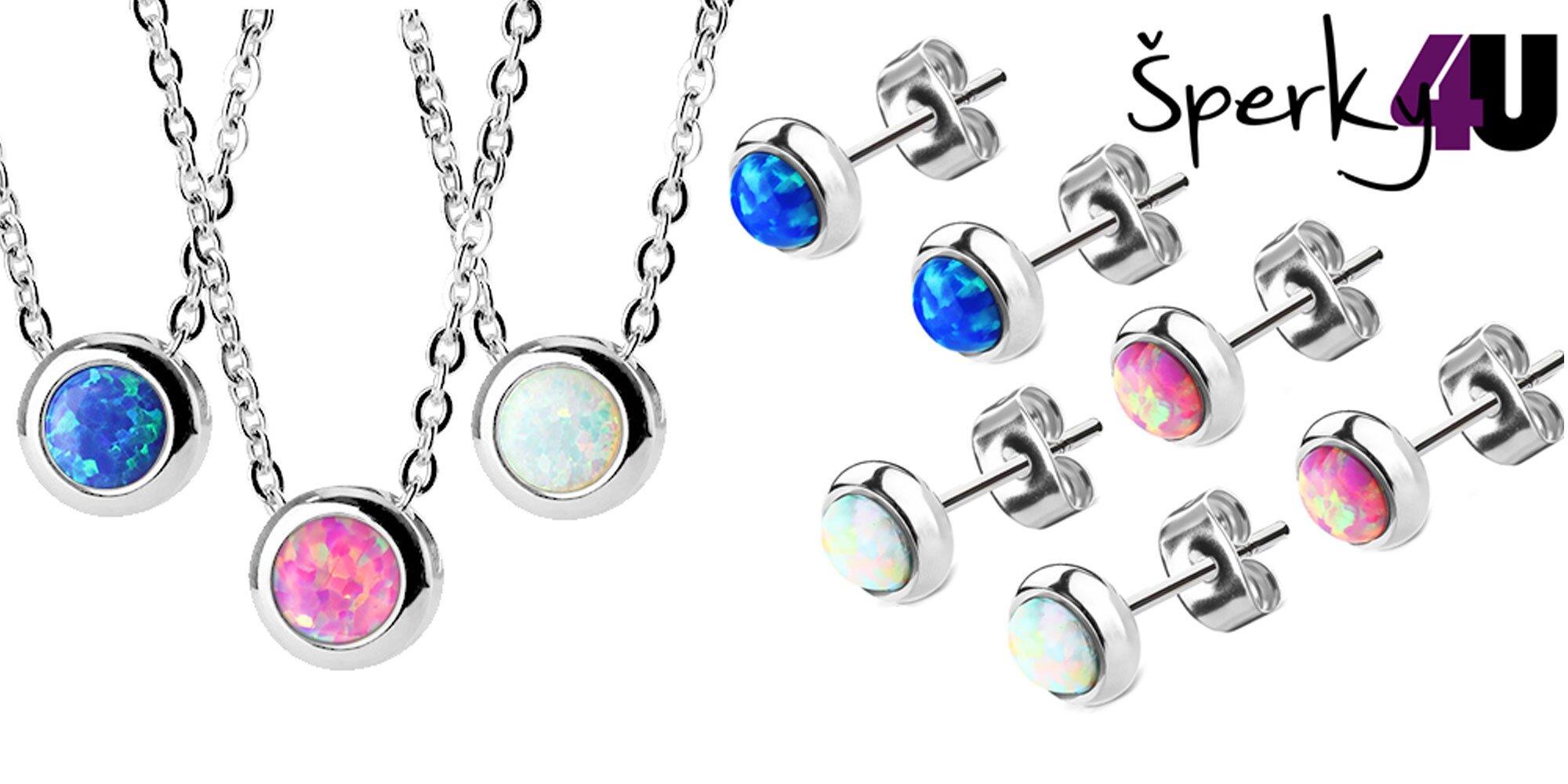 e0d458eed Oceľové náušnice a náhrdelníky s opálmi | Zlavomat.sk