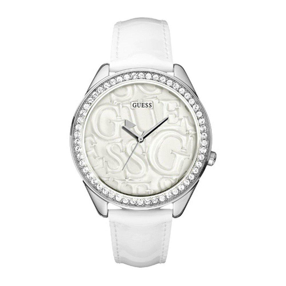 8a1c0c80e Dámske biele analogové hodinky s kryštálmi Guess | Zlavomat.sk