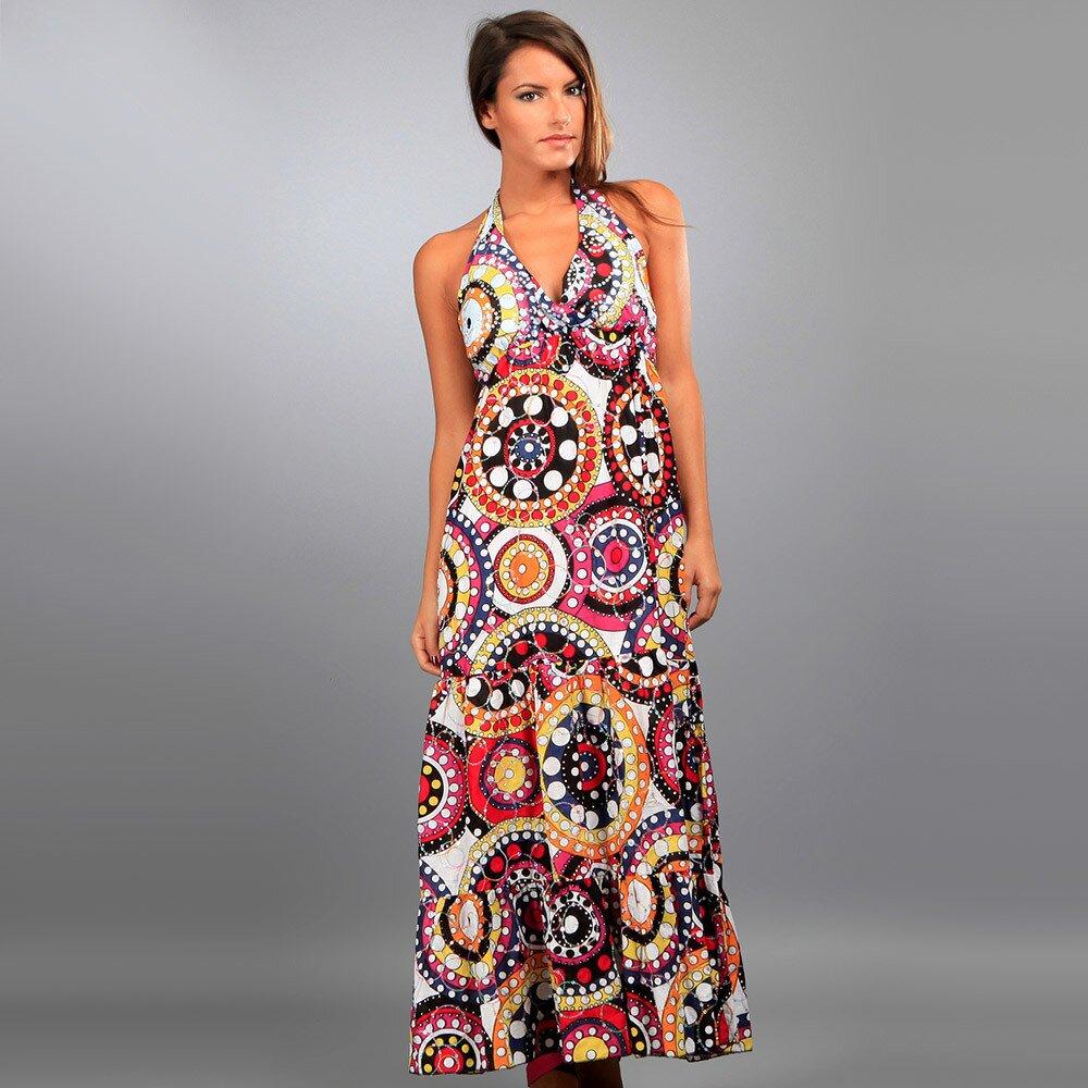 ba026fe98ff9 Dámske dlhé biele šaty Des Si Belles s farebnými ornamentmi ...