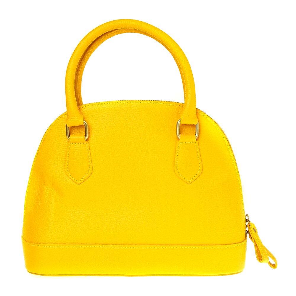 Dámska kanárikovo žltá kožená kabelka  d088c17b823