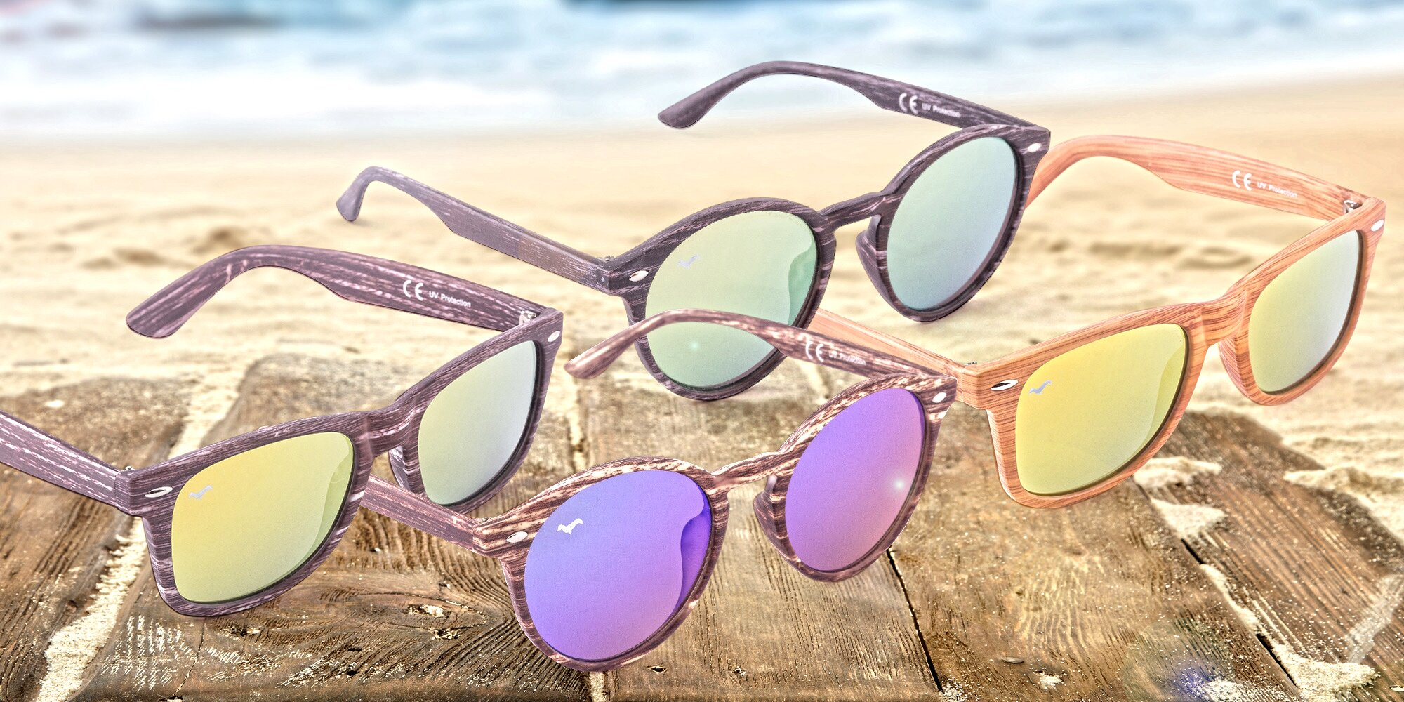 7f76e590a Originálne slnečné okuliare Wayfarer a Nyasa s imitáciou dreva | Zlavomat.sk