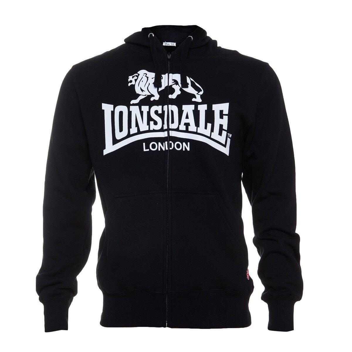 Pánska čierna mikina Lonsdale se zipem a bielou potlačou  9b1ed9f7576