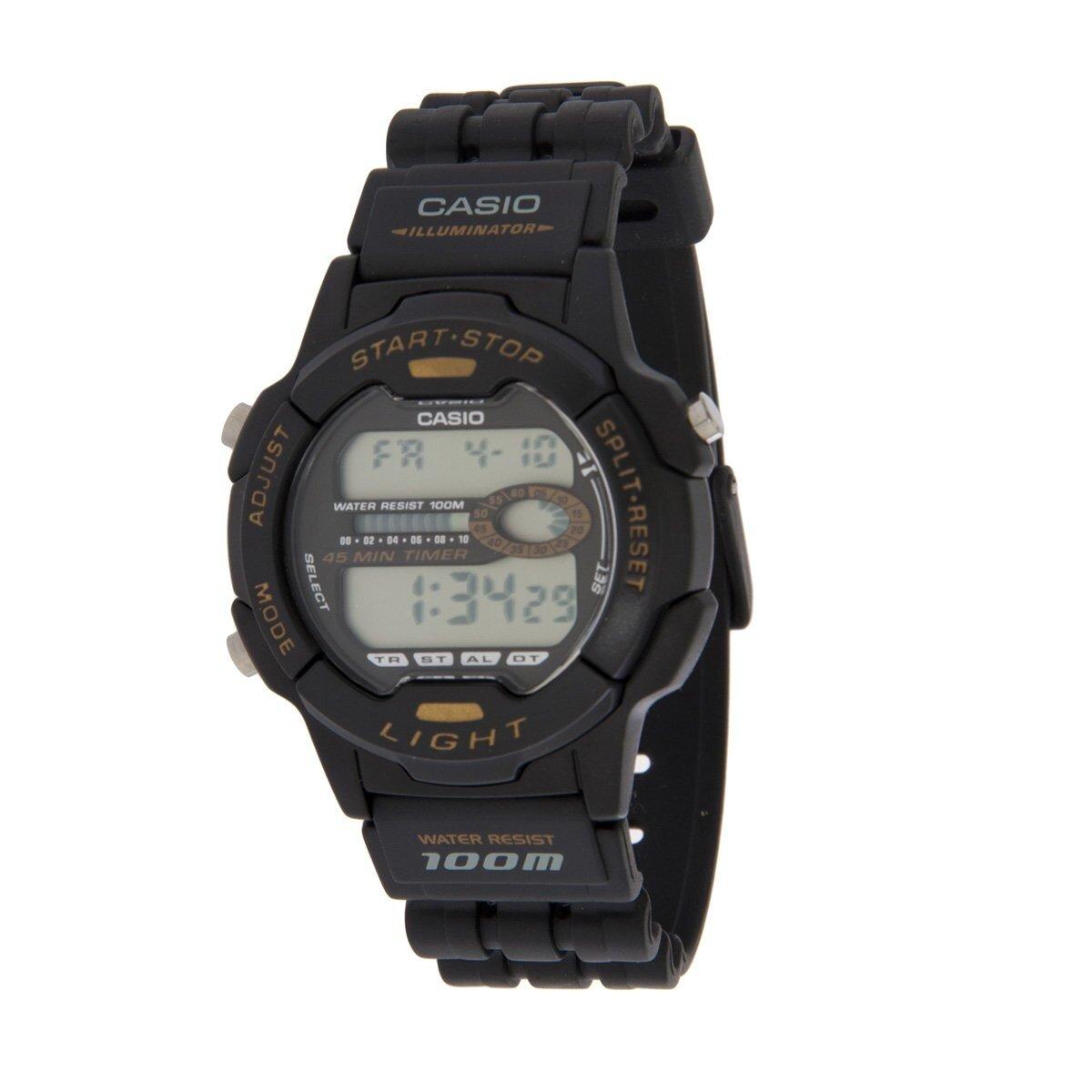 Pánske čierne digitálne hodinky Casio s čiernym pryžovým remienkom ... b54d0ee29ca