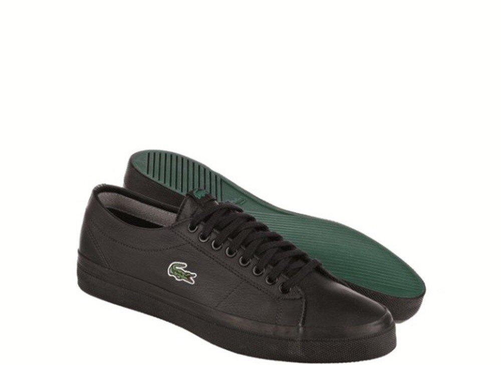 Pánske čierne kožené tenisky s logom Lacoste  d28e5818a26
