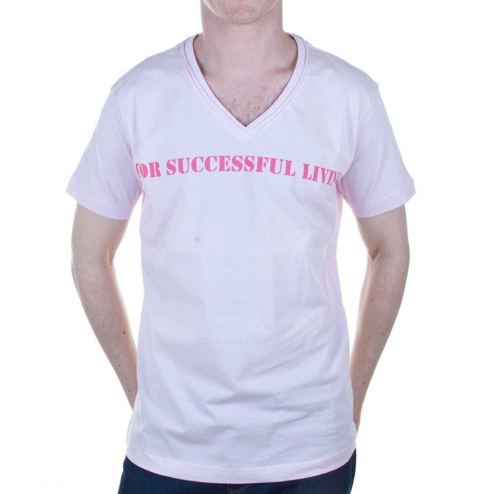 c4cf676745b3 Pánske svetlo ružové tričko s nápisom Diesel