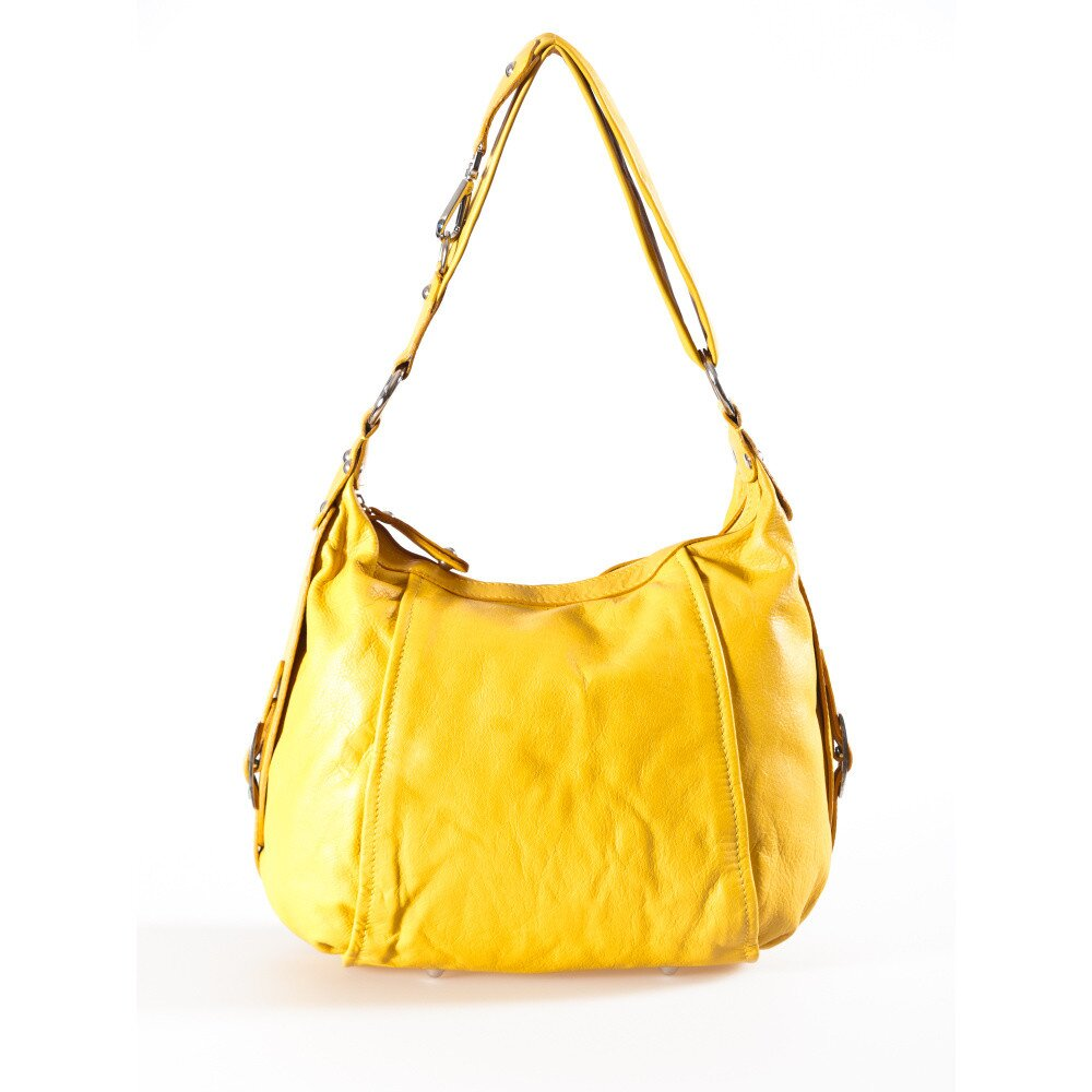 Dámska kanárikovo žltá kožená kabelka Luisa Vannini  82b7a991502
