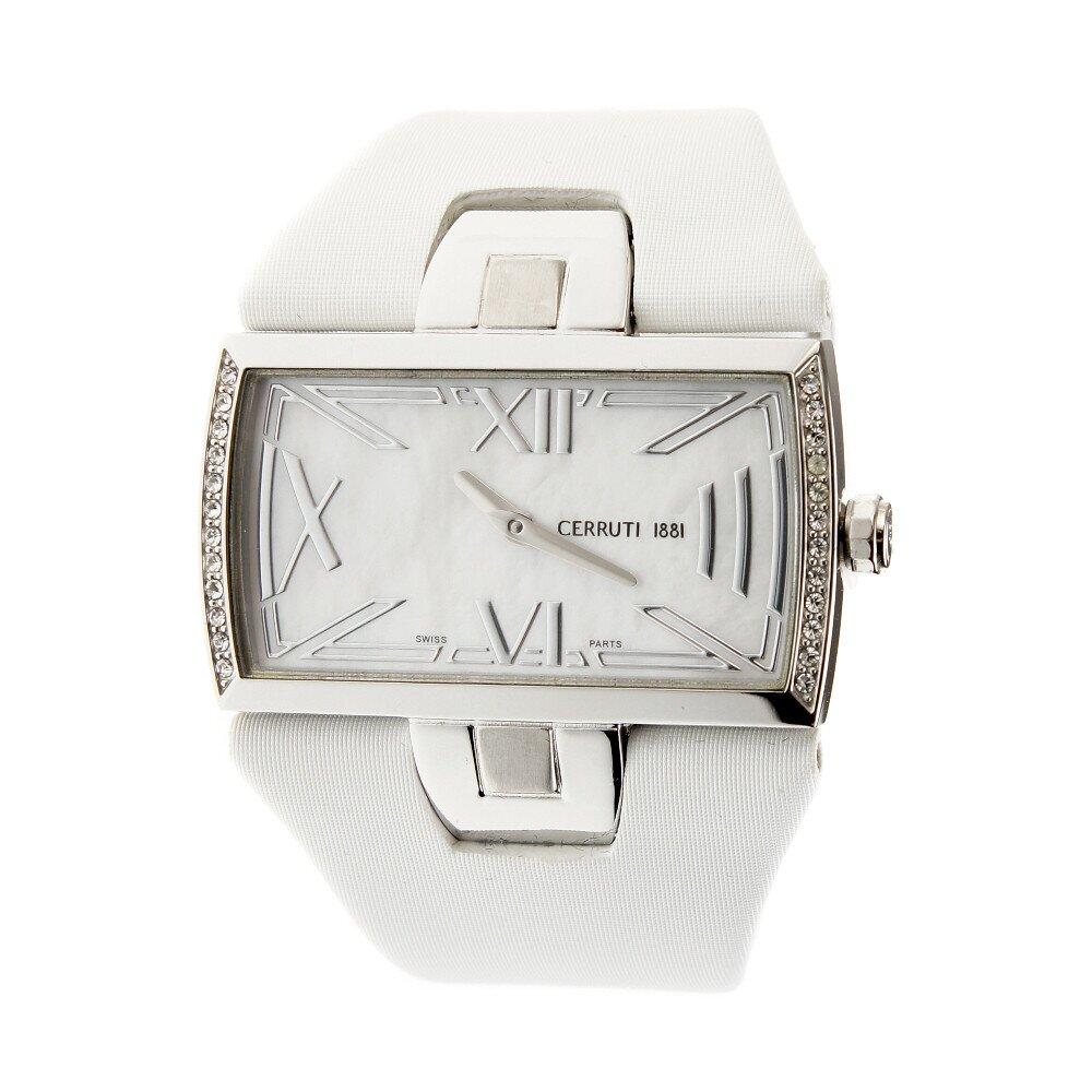 Dámske hodinky Cerruti 1881 s bielym pásikom a kryštálmi  ad5dcd35e2e