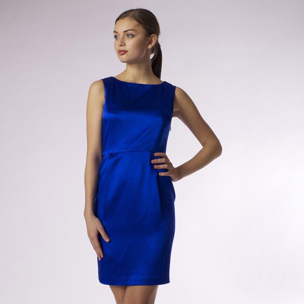 20f090e98e Dámske lesklé modré šaty Emploi
