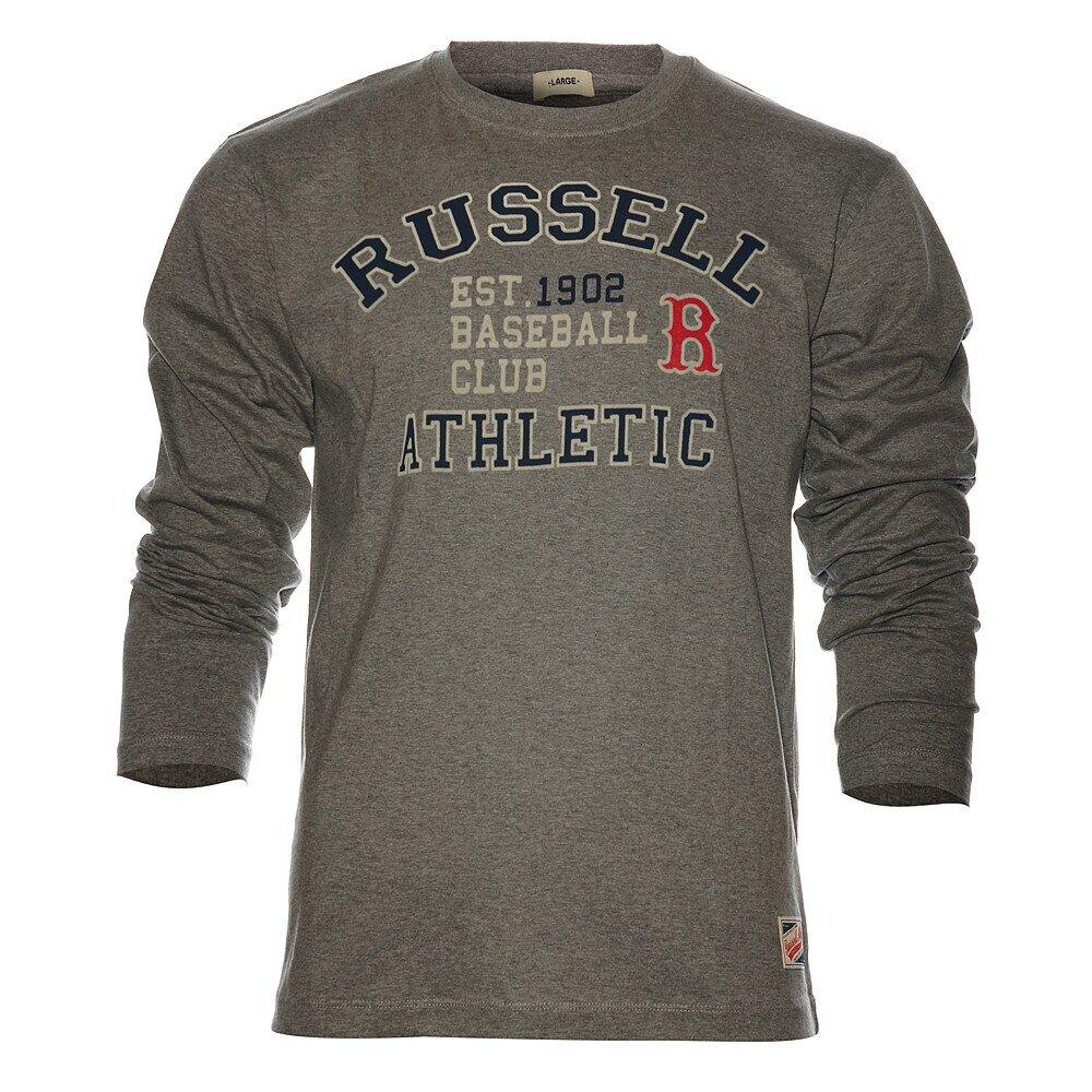 7d7a9b942280 Pánske svetlo šedé melírované tričko Russell Athletic s potlačou ...