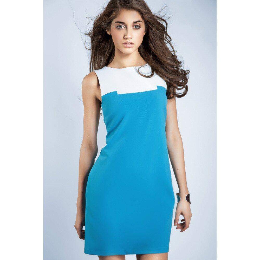 Dámske tyrkysovo-biele púzdrové šaty Nife  8d57ddc693d