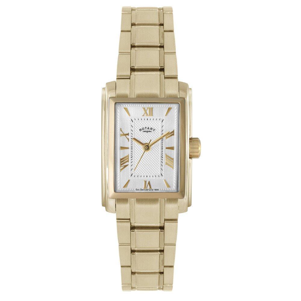 Dámske pozlátené hranaté analogové hodinky Rotary  62ce812dc8