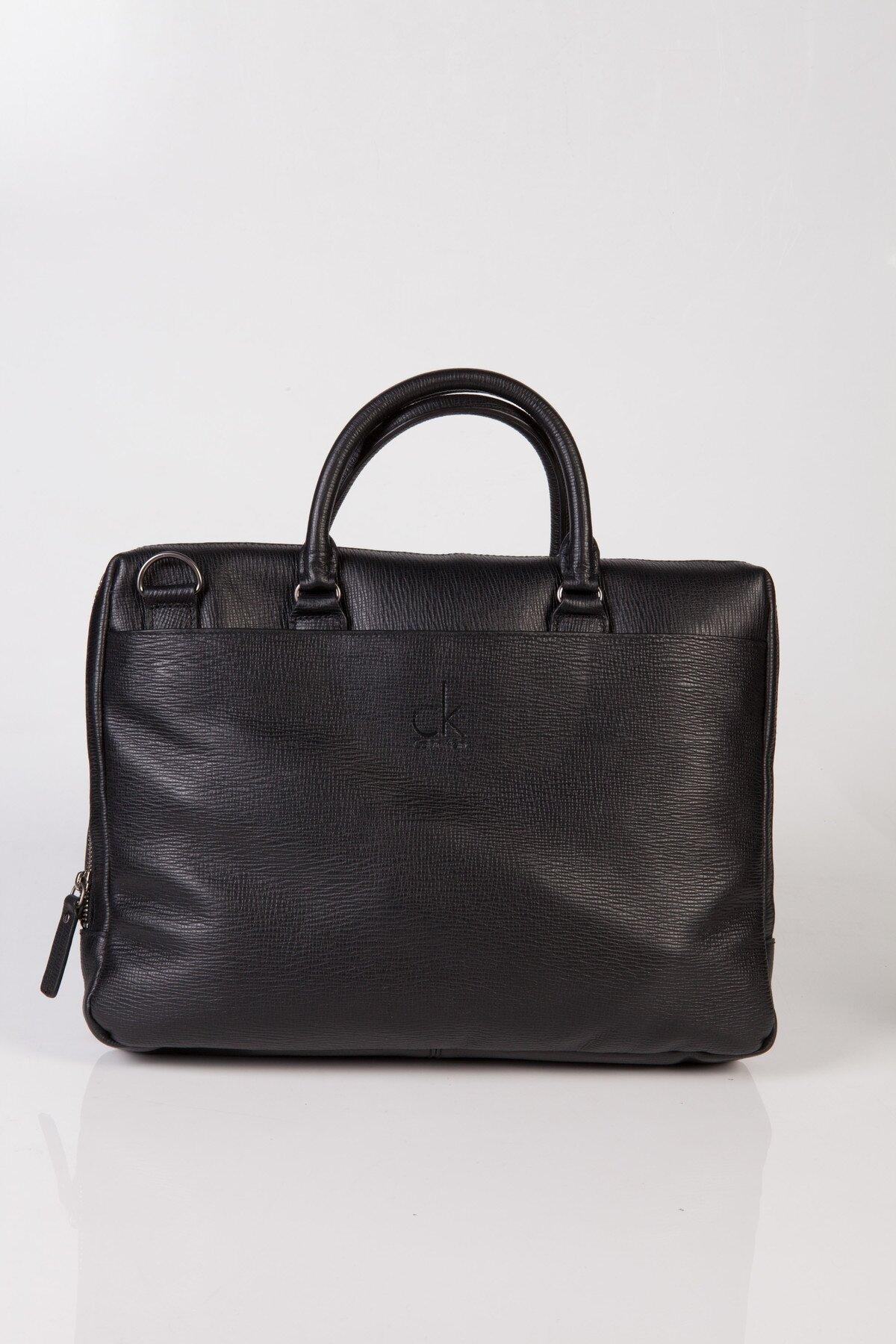 1f7590b94dfd Čierna kožená taška na notebook Calvin Klein