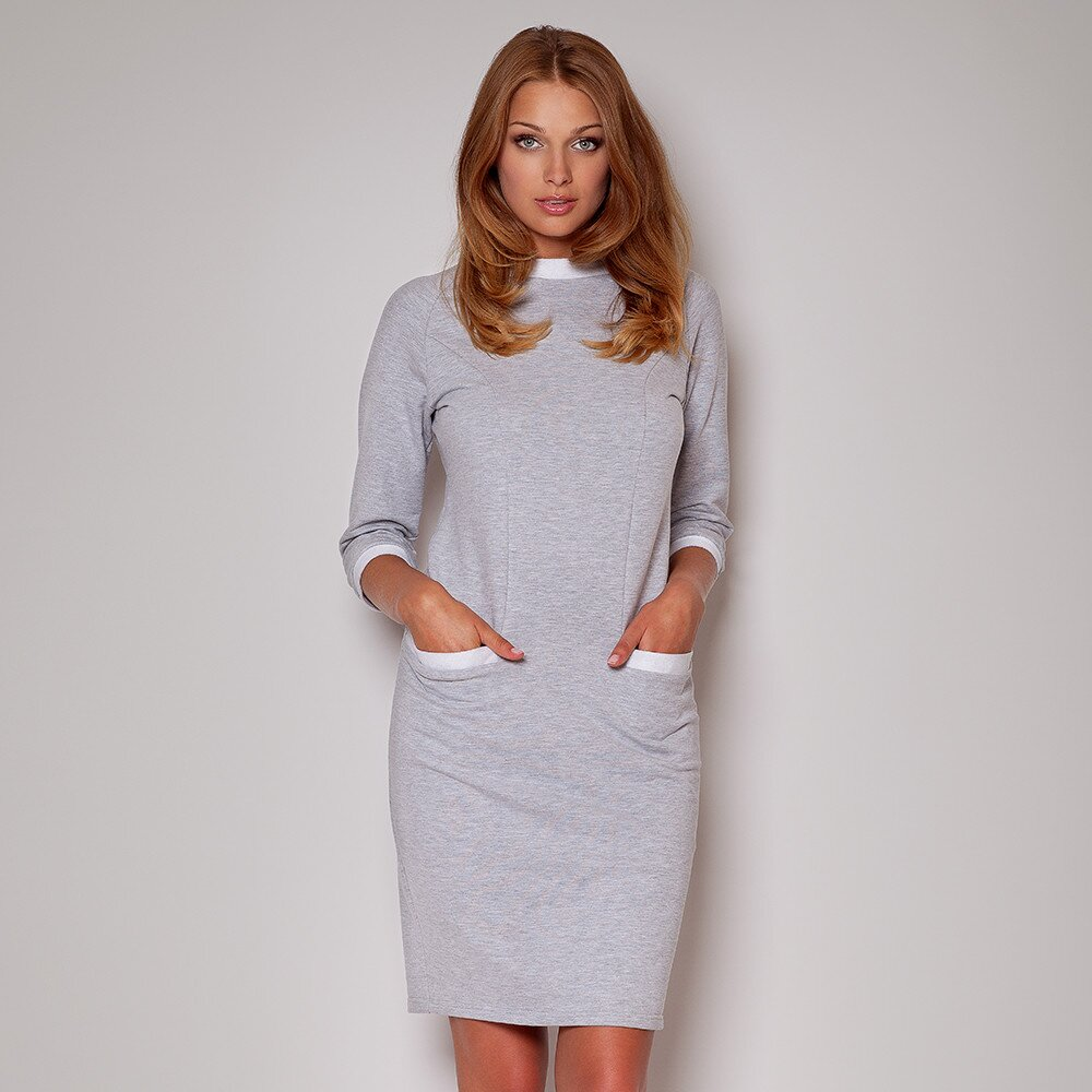 3458f2011c92 Dámske šedé šaty s vreckami Figl